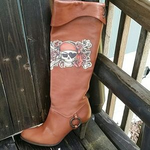 Isabella Fiore Pirate Leather Boot Tall 7.5 Medium